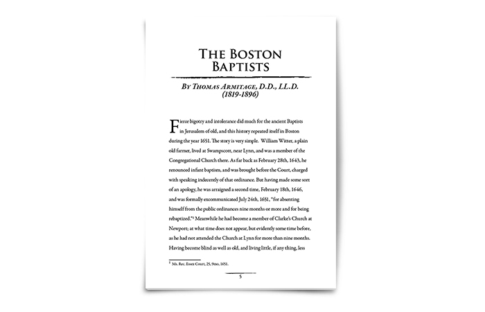 The Boston Baptists by Thomas Armitage D.D.